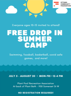 Free Summer Camp Drop In July 5 -August 20 12-4